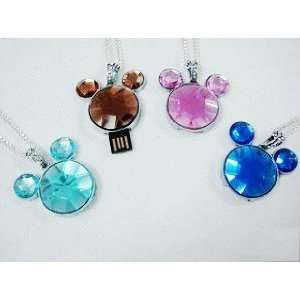 Mickey Mouse Head Crystal Diamond USB Flash Drive with Necklace8GB
