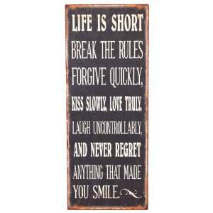 Wilco Imports Distressed Life is Short Metal Wall Plaque, Black with
