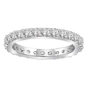 14k White Gold Bead Set Diamond Eternity Ring (1.00 cttw