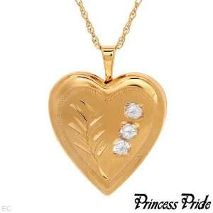 18 2 Tone 14kt Gold (gf) Etched Heart Locket Necklace