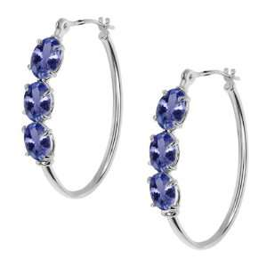 2.70 Ct Oval Blue Tanzanite 14K White Gold 4 prong Hoop