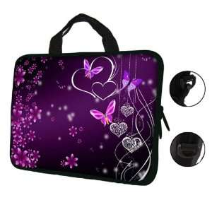 17 17.3 Pink Flower Butterfly Design Laptop Sleeve with
