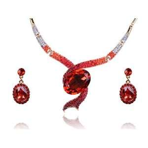 Ruby Red Snake Swarovski Crystal Rhinestone Dangle Earring