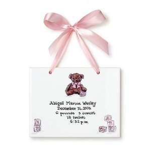 Teddy Bear Girl Ceramic Birth Certificate Baby