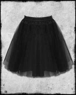 HELL BUNNY NATHALIE BLACK GOTH LAYERED SATIN & TULLE NET MESH