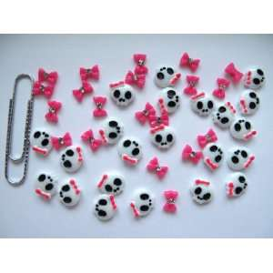 Nail Art 3d 40 Piece Hot Pink Skull & BOW/RHINESTONE for