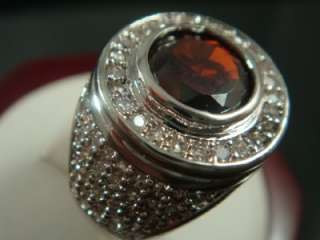 14K WHITE GOLD ROUND RED CUBIC ZIRCONIUM RING SIZE 10