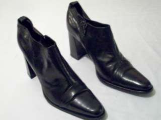 BLACK LEATHER WESTERN SHOES/ANKLE BOOTS SIZE 10M MADE IN ITALY
