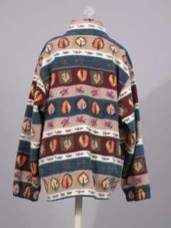 vtg 80s Dunner leaf print fleece zip front jacket L XL