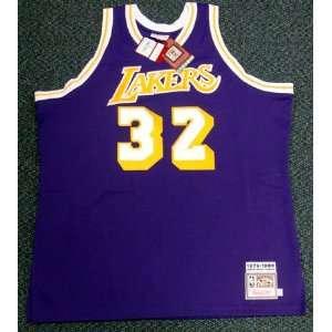 Magic Johnson Autographed Purple LA Lakers Mitchell & Ness