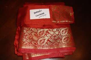 5YRDS BURNT ORANGE ART SILK SARI/BLOUSE SAREE FABRIC DRAPE