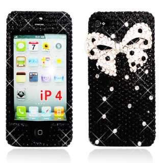 iPhone 4 / 4S Silver Bow & Black Full Diamond Rhinestone Protector