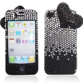 iPhone 4S 4G Heart Black & Silver Diamond Protective Case Cover with