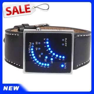 New OHSEN Blue LED Light Quartz Mens Black Band XMAS GIFT Wrist Watch