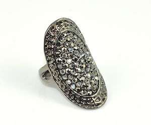 Fashion Gun Black Crystal Knuckle Cocktail Party Ring Size 6   6.75
