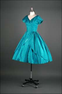 1297  Vtg 50s Teal Brocade Tulle Cocktail Wedding Bridal Prom Party