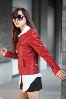 Womens Slim Round Neck Zip Up Leather Jacket Red Z05