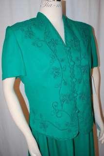 STEVENS PLEATED GREEN EMBROIDERED SHORT SLEEVE DRESS WOMEN SZ 14M NWT