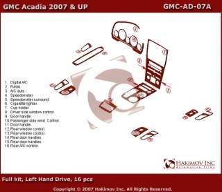 GMC Acadia 07 10 Wood Chrome Dash Kit Trim Parts