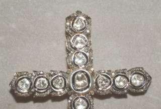 HUGE 18 CARAT GOLD SILVER DIAMOND CROSS nickerla