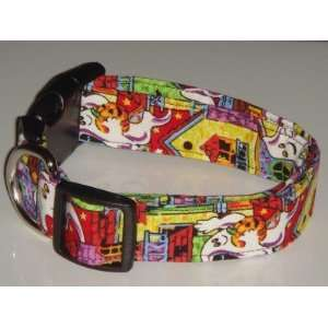 Haunted House Ghost Halloween Dog Collar X Large 1