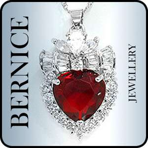 CHRISTMAS GIFT JEWELRY HEART CUT RED RUBY 18K WHITE GOLD GP PENDANT