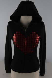 Abbey Dawn Blk Metal Heart Burnout Zip Hoodie 1805