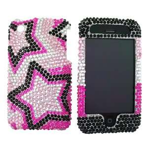 For iPhone 3Gs 3G Bling Hard Case Star Pink Blk Gems