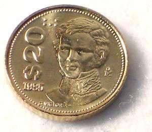 Mexico 1985 $ 20 Pesos Original Mexican Coin Scarce