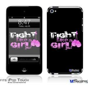 iPod Touch 4G Skin   Fight Like A Girl Breast Cancer Ribbon and Boxing
