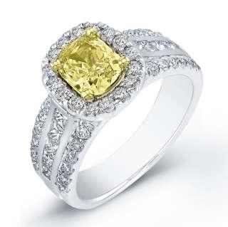 05 Ct. Yellow Canary Cushion Cut Diamond Ring