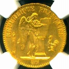 1887 FRENCH ANGEL GOLD COIN 20 FRANCS * NGC CERTIFIED GENUINE & GRADED