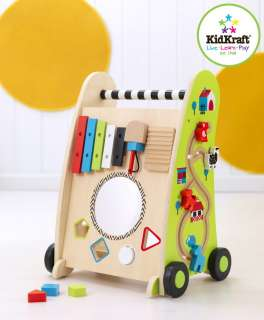 Kids Toy Maze Shape Sorter and Music Maker on Wooden Push Along Cart