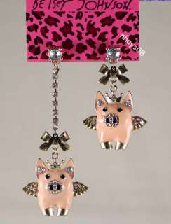 Free Ship Betsey Johnson Angel Wings PIG Pink Crystals dangle
