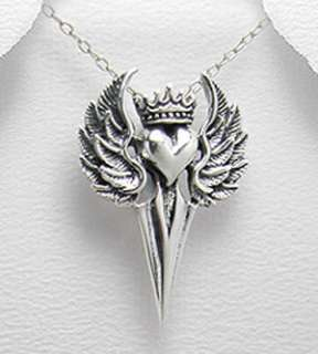 Sterling Silver Royal Harley Dagger Angel Wings Heart Necklace