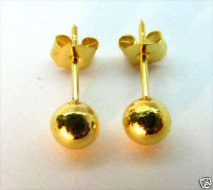 EXCELLENT 22K SOLID GOLD BIG BALL 5 MM. STUD EARRINGS