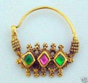 23K ANTIQUE COLLECTIBLE TRIBAL OLD GOLD NOSE RING NOSEPIN PENDANT