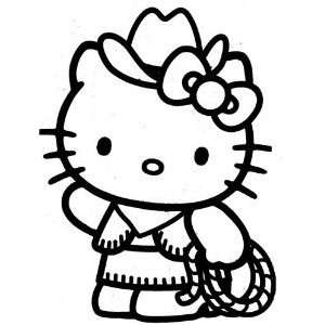 HELLO KITTY COWGIRL   Vinyl Decal Sticker 5 HOT PINK Automotive