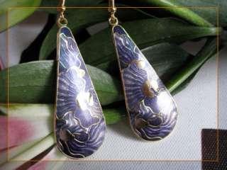gold plated cloisonne enamel purple tear drop dangle earrings 2523