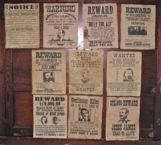Jesse James Wyatt Earp Wanted Posters Tombstone old West Outlaws