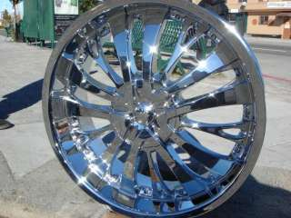 Wheel + Tire Packages 24 inch Triple chrome rims T 705