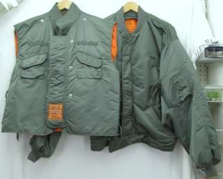 Schott Bros. Air Force Flight Flyer Type Bomber Jacket & Vest, sz XL