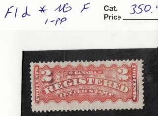 circa 1875 early canadian unused registration stamp 2 cents f1d