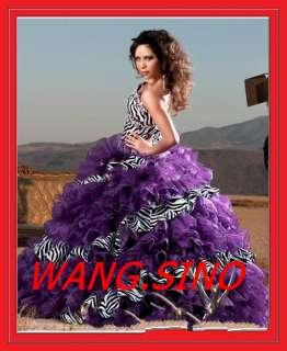 Quinceanera Dress Wedding Ball Gowns Prom Party Dresses Zebra grain