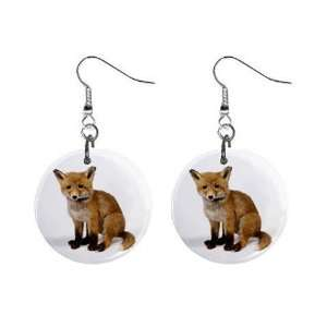 New Baby Fox Button Dangle Earrings Wild Animal Jewelry