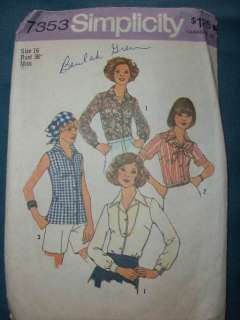 VINTAGE 70s BLOUSE TOP INDIE HEAD SCARF DIY B38 PATTERN