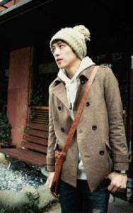 Men Double Breasted Mixed Woolen Short Trench Coat L