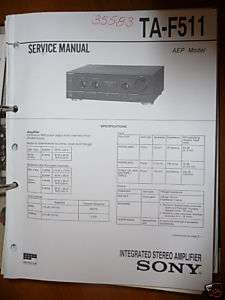 Service Manual Sony TA F511 Amplifier,ORIGINAL