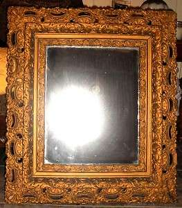 19TH CENTURY HAND CARVED GOLD GILDED GESSO WOOD FRAME MIRROR OLD WOOD