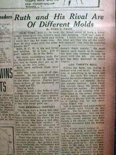 1927 newspaper BABE RUTH & LOU GEHRIG Home Run race w Photos & Banner